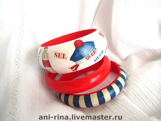"""Браслеты ручной работы. Ярмарка Мастеров - ручная работа. Купить комплект браслетов """"Морской бриз"""". Handmade. Браслет, морской браслет"""