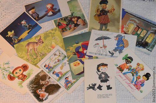 Винтажные куклы и игрушки. Ярмарка Мастеров - ручная работа. Купить Открытки 60-70 года 10 шт.. Handmade. Открытки