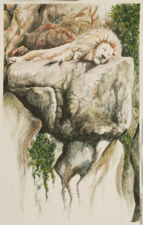 Животные ручной работы. Ярмарка Мастеров - ручная работа. Купить Спящий лев, акварель. Handmade. Лев, картина акварелью