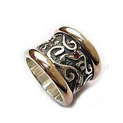 """Кольца ручной работы. Ярмарка Мастеров - ручная работа Серебряное кольцо """"История о сакральном"""", серебро, золото, гранаты. Handmade."""