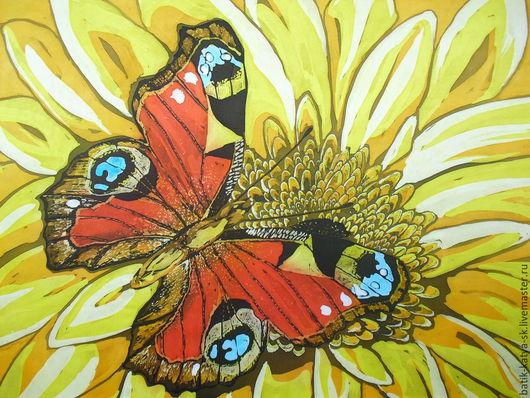 Картины цветов ручной работы. Ярмарка Мастеров - ручная работа. Купить Батик панно «Бабочка на желтом» на шелке. Handmade. Желтый