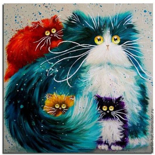 Вышивка ручной работы. Ярмарка Мастеров - ручная работа. Купить Алмазная вышивка. Коты от Kim Haskins. PURRENTING. 30х30см. Handmade.