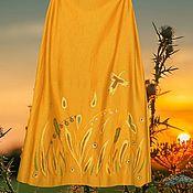 """Одежда ручной работы. Ярмарка Мастеров - ручная работа Горчичная юбка из джерси """"Золотые травы"""". Handmade."""