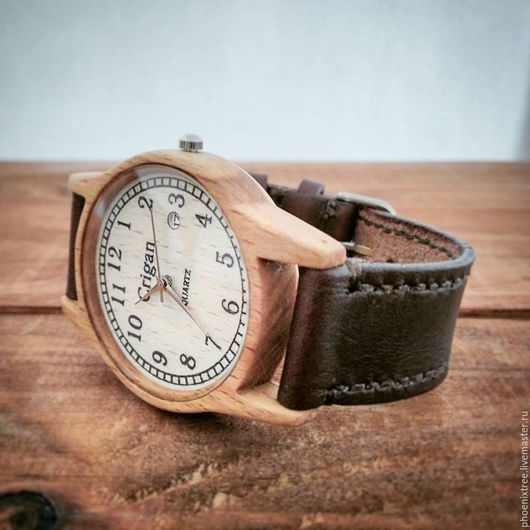 """Часы ручной работы. Ярмарка Мастеров - ручная работа. Купить Часы из дерева PT """"Crigan"""" (бук) наручные, коричневый ремешок. Handmade."""