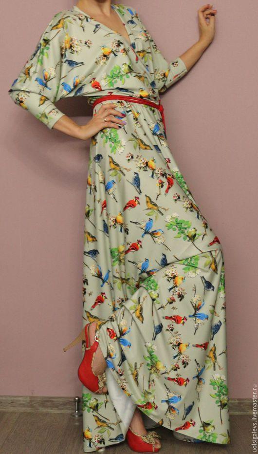 """Платья ручной работы. Ярмарка Мастеров - ручная работа. Купить Платье в пол """"Райские птицы"""". Handmade. Комбинированный, летучая мышь"""