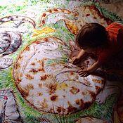 Для дома и интерьера ручной работы. Ярмарка Мастеров - ручная работа Флисовый плед с принтом Коты на траве. Handmade.