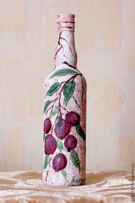 Декоративная посуда ручной работы. Ярмарка Мастеров - ручная работа. Купить Сливы. Handmade. Фиолетовый, бутылка в подарок, бутылка стеклянная