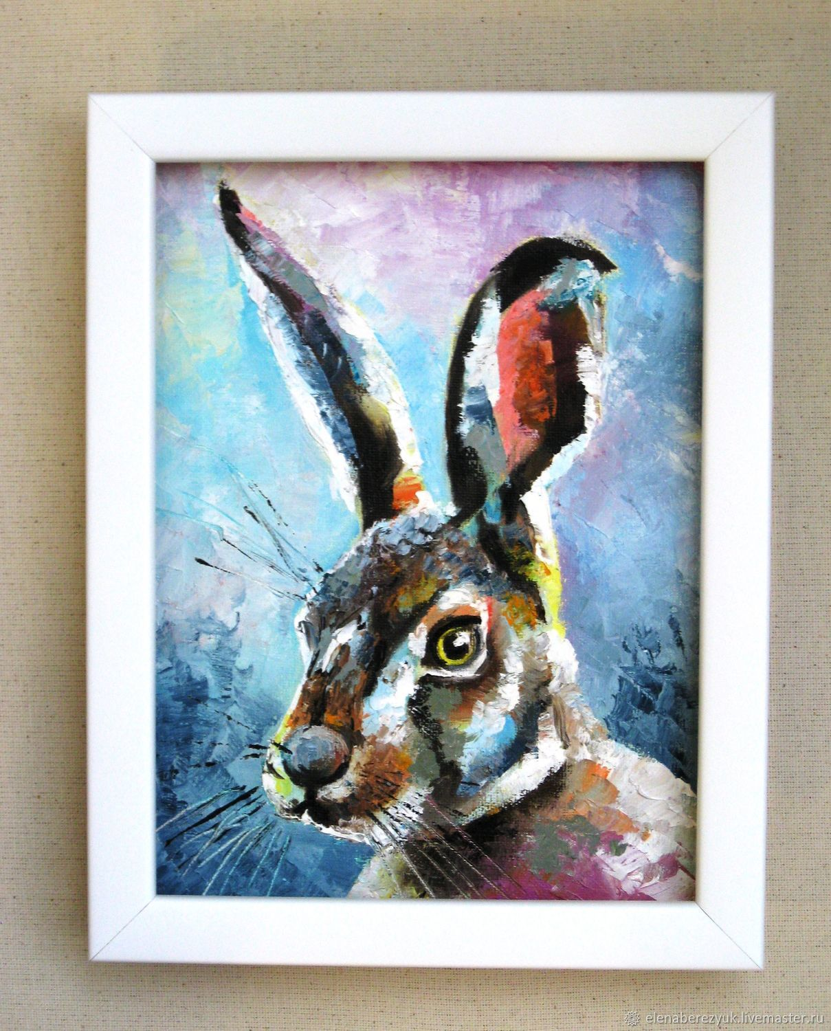Hare painting oil on small canvas woodland wall decor for for Small canvas boards