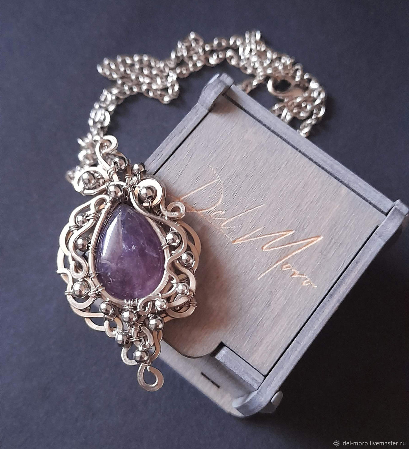 Pendant with amethyst stone, melchior ' Cloudy', Pendant, St. Petersburg,  Фото №1