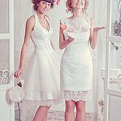 Свадебный салон handmade. Livemaster - original item A short wedding dress. Lace dress. Handmade.