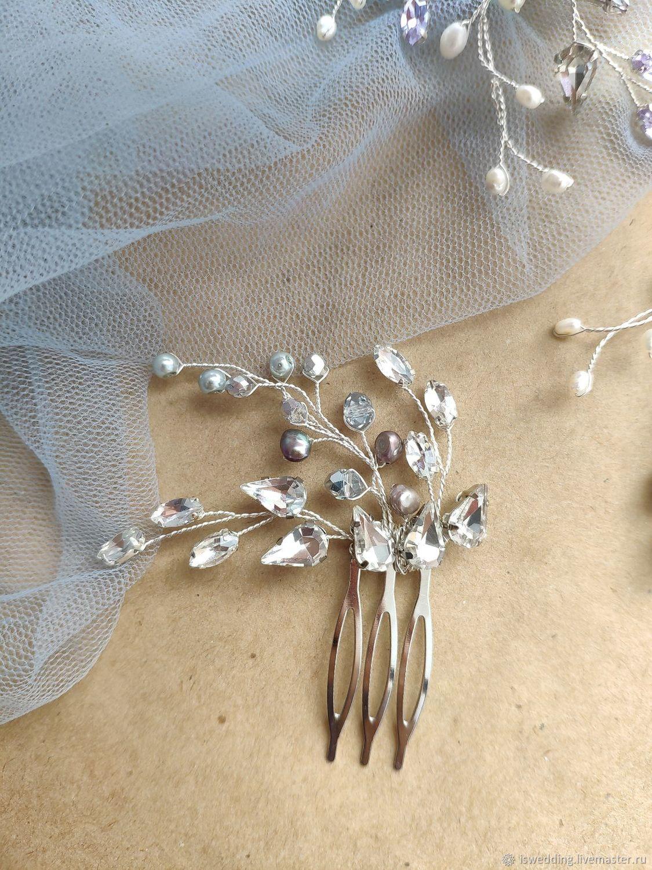Свадебное украшение для волос. Гребень, Украшения, Москва, Фото №1