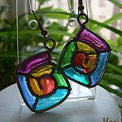 "Украшения handmade. Livemaster - original item Brass wire wrapped earrings ""Rainbow square"". Handmade."