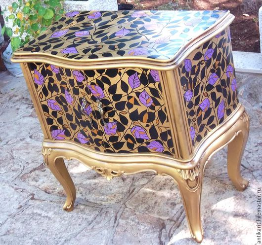 """Мебель ручной работы. Ярмарка Мастеров - ручная работа. Купить Тумба салонная  на ножках с двумя дверцами"""" Сиреневая осень"""",. Handmade."""