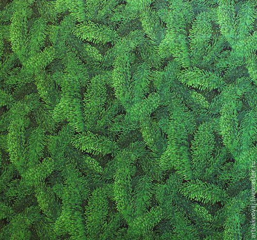 """Шитье ручной работы. Ярмарка Мастеров - ручная работа. Купить Ткань """"Волшебная ель"""". Handmade. Тёмно-зелёный, новогодняя ткань"""
