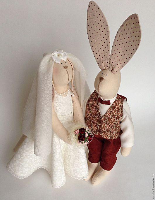 Куклы Тильды ручной работы. Ярмарка Мастеров - ручная работа. Купить Зайцы молодожены (интерьерная игрушка в стиле Тильда). Handmade.