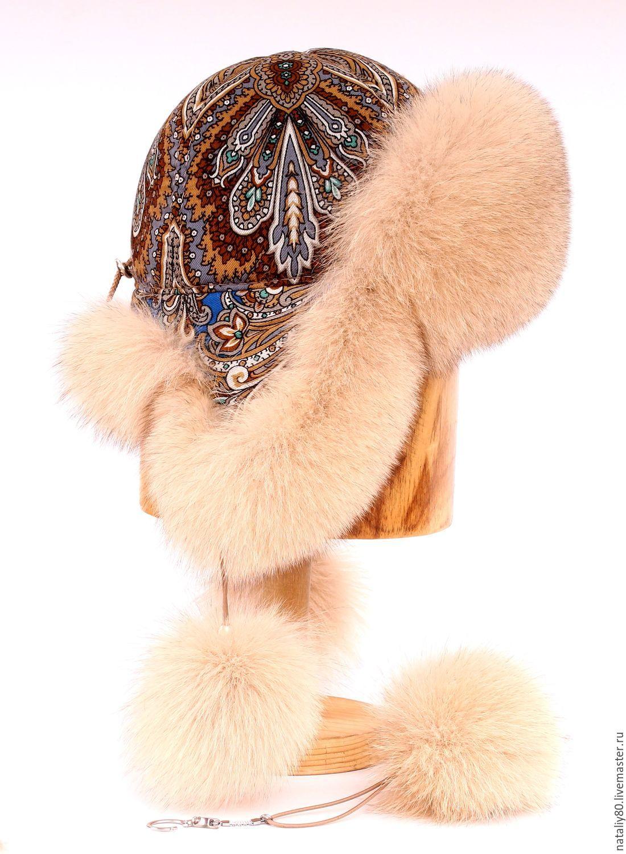 Шапки ручной работы. Ярмарка Мастеров - ручная работа. Купить Женская шапка ушанка с П-Посадским платком. Handmade. Бежевый