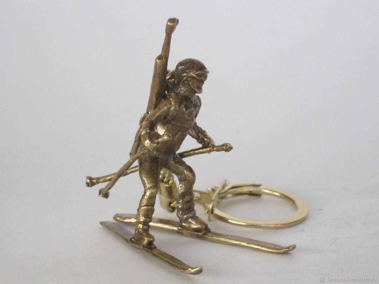 Brass keychain Biathlete, Key chain, Yaroslavl,  Фото №1