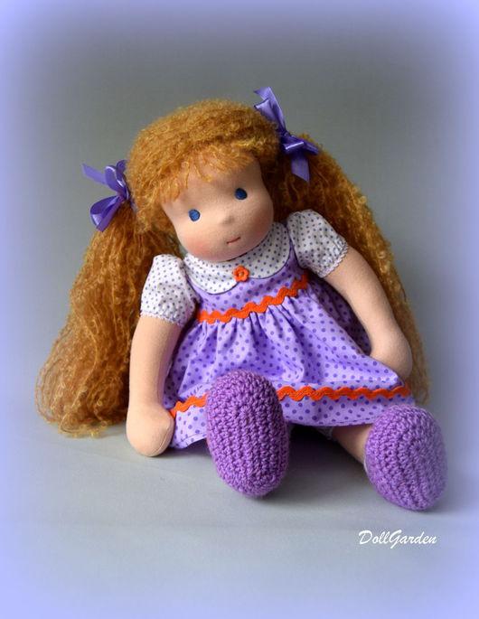 Вальдорфская игрушка ручной работы. Ярмарка Мастеров - ручная работа. Купить Вальдорфская кукла Ульяна, 36 см.. Handmade. Сиреневый