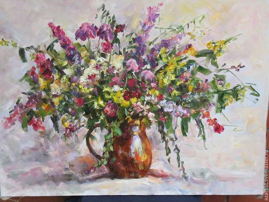 Букет из лесных цветов. Картина наполнена сочными красками и ароматом лета. Идеально подходит для спален и гостиных.