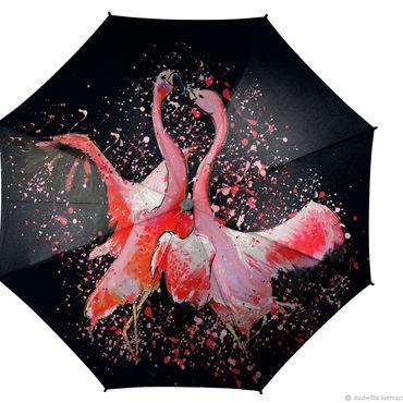 Аксессуары ручной работы. Ярмарка Мастеров - ручная работа Зонт женский складной зонт-трость красивый с рисунком фламинго. Handmade.