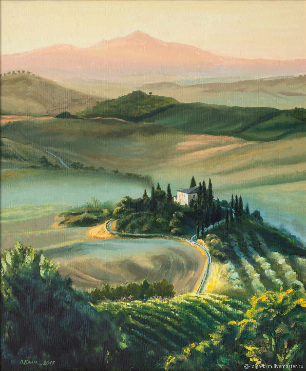 Oil painting Tuscany, summer landscape road to home, Pictures, Ekaterinburg,  Фото №1