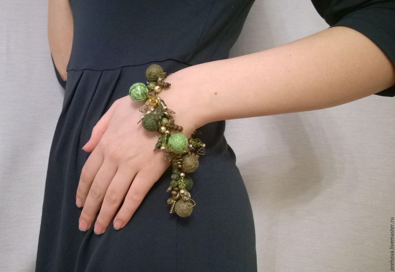 'Forest Kingdom' Bracelet on a Chain Textile Beads Green, Bead bracelet, Pushkin,  Фото №1