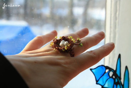 """Кольца ручной работы. Ярмарка Мастеров - ручная работа. Купить Кольцо """"Гнёздышко"""". Handmade. Весна, медная проволока, авторское кольцо"""