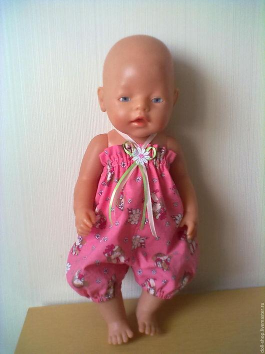 Одежда для кукол ручной работы. Ярмарка Мастеров - ручная работа. Купить Летний комбез. Handmade. Сиреневый, комбез для куклы, бязь
