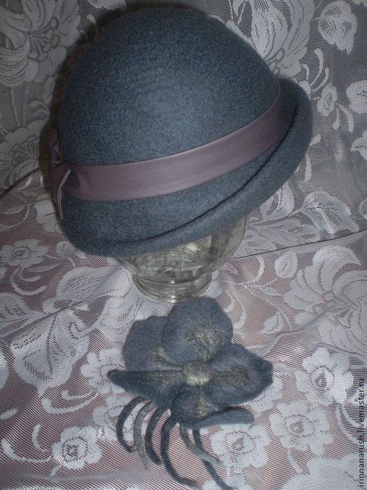Шляпы ручной работы. Ярмарка Мастеров - ручная работа. Купить Шляпка с бантом. Handmade. Темно-серый, шерсть 100%