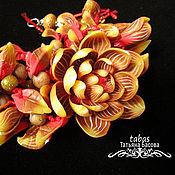 Украшения ручной работы. Ярмарка Мастеров - ручная работа Браслет цветы Осень коричневый красный полимерная глина. Handmade.