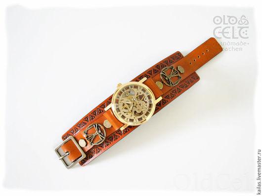 Браслеты ручной работы. Ярмарка Мастеров - ручная работа. Купить Кожаный браслет-часы в стиле Леонардо да Винчи. Handmade. Коричневый