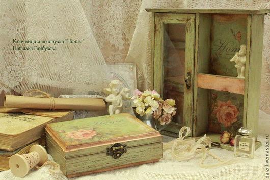 """Прихожая ручной работы. Ярмарка Мастеров - ручная работа. Купить Ключница и шкатулка """"Home.."""". Handmade. Оливковый, ключница настенная"""