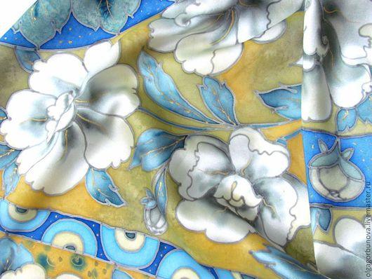 """Шали, палантины ручной работы. Ярмарка Мастеров - ручная работа. Купить Батик платок """" Белые пионы"""". Handmade. Батик"""