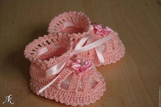 """Для новорожденных, ручной работы. Ярмарка Мастеров - ручная работа. Купить Пинетки """"Для маленькой принцессы"""". Handmade. Бледно-розовый"""