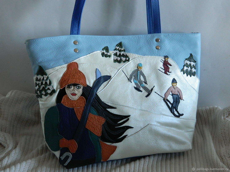Leather bag shopper bag with applique skier u2013 shop online on