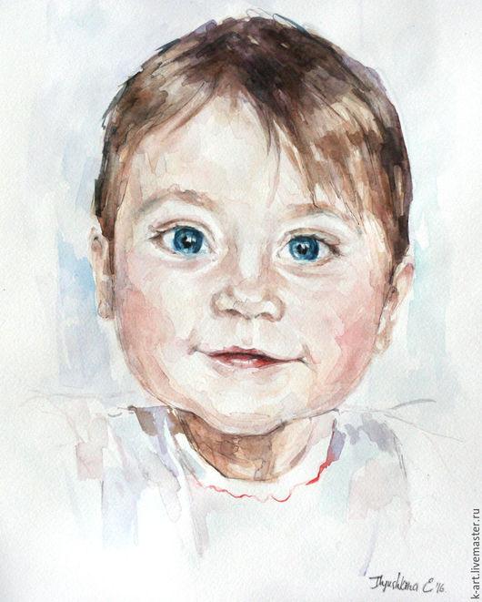 Люди, ручной работы. Ярмарка Мастеров - ручная работа. Купить Детский портрет в подарок. Handmade. Бежевый, портрет по фото