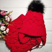 Одежда детская handmade. Livemaster - original item Set: winter hat and LIC, red. Handmade.