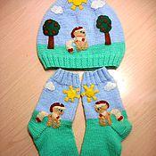 """Работы для детей, ручной работы. Ярмарка Мастеров - ручная работа Вязаные носочки и  шапочки """" Пони"""". Handmade."""