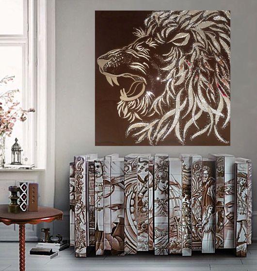 Животные ручной работы. Ярмарка Мастеров - ручная работа. Купить Царь зверей. Handmade. Картина, панно, блеск, абстракция, лев