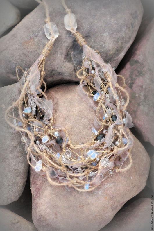 """Колье, бусы ручной работы. Ярмарка Мастеров - ручная работа. Купить Ожерелье """"Дымное"""" (бохо-стиль). Handmade. Серый"""