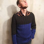 Свитеры ручной работы. Ярмарка Мастеров - ручная работа Мужской вязаный шерстяной свитер. Handmade.