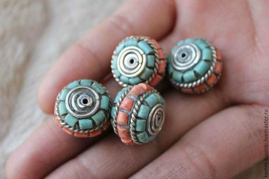 Для украшений ручной работы. Ярмарка Мастеров - ручная работа. Купить Бусины коралл бирюза ручной работы Непал. Handmade.