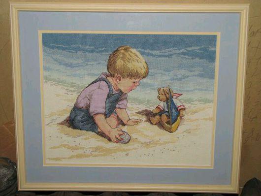 Люди, ручной работы. Ярмарка Мастеров - ручная работа. Купить Мальчик на пляже. Handmade. Вышивка крестом, дети, картина, детишки