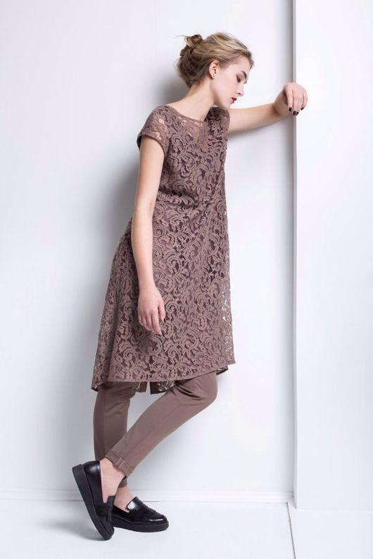 Платья ручной работы. Ярмарка Мастеров - ручная работа. Купить Кружевное платье кофейного цвета. Handmade. Платье, винтажное кружево