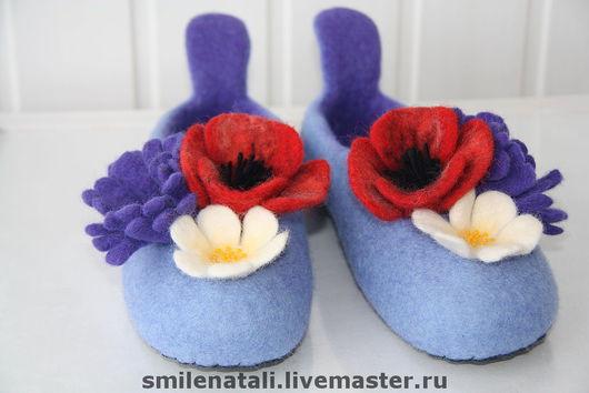 """Обувь ручной работы. Ярмарка Мастеров - ручная работа. Купить Тапочки """"Полевые цветы"""". Handmade. Домашние тапочки"""