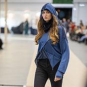 Одежда handmade. Livemaster - original item ADpc_006 Women`s knitted hoodie, color thunderstorm/Black.. Handmade.