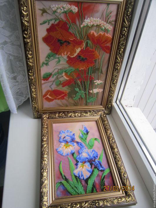 Картины цветов ручной работы. Ярмарка Мастеров - ручная работа. Купить картины  Ирисы и Маки. Handmade. Синий, Вышитая картина
