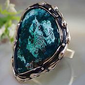 Украшения handmade. Livemaster - original item Ring Laguna-dioptase, chrysocolla, 925 sterling silver. Handmade.