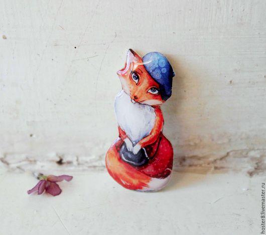 """Броши ручной работы. Ярмарка Мастеров - ручная работа. Купить Брошь """"Лисичка-милашка"""" (0140). Handmade. Оранжевый, броши, лисичка"""