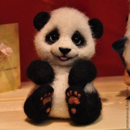 Игрушки животные, ручной работы. Ярмарка Мастеров - ручная работа. Купить Малыш панда. Handmade. Мишка-панда, стеклянные глазки